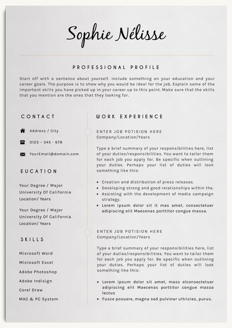 Professional Resume Template with cover letter and reference page. Includes 150 icons free, for contact information and other infographics.
