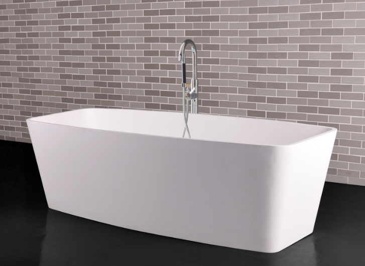 Description: Freestanding bathtub  Material: Solid Surface  white matt  Code: 100 6001  Model: SolidCARE  Size :170 x 78 x 54(h) cm with pop-up drainage & pipe w/ overflow hole