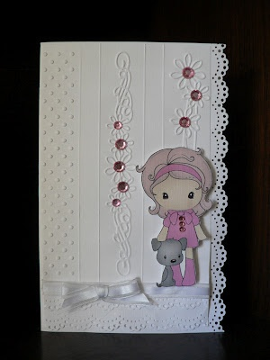 Cuttlebug embossing, martha stewart edge punch and bling = sweet little card from My Craft Creationsnz: Cute Girls Card