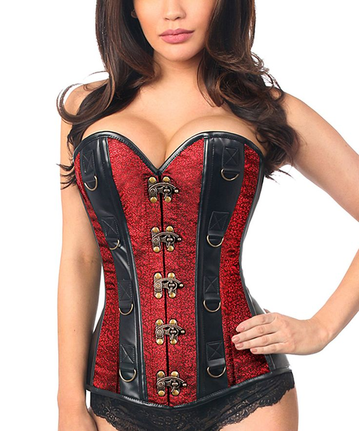 Take a look at this Daisy Corsets Wine & Faux Leather Brocade Steel-Boned Corset - Plus Too today!
