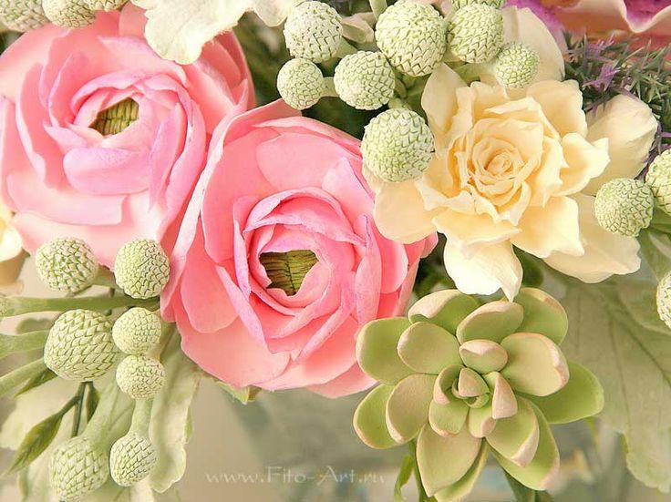 Композиции : Букет с каменными розами, цветы из глины - Fito Art