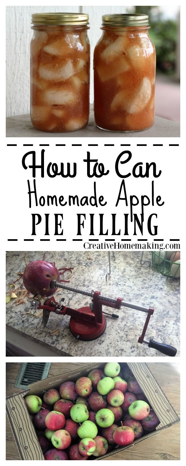 Easy instructions for making and canning homemade apple pie filling from fresh apples.
