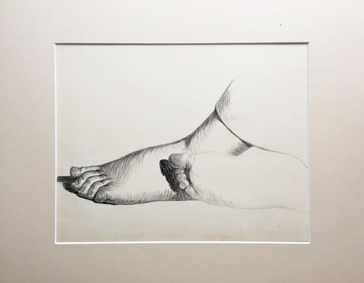 19th C French Antique Graphite Drawing Study of Feet on Chairish.com