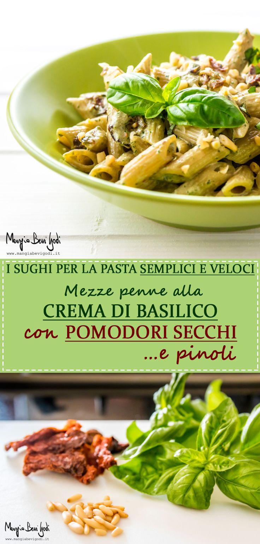 Pasta con crema di basilico, pomodori secchi e pinoli.