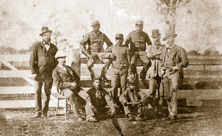 Aboriginal Mounted Police, usually described as 'blacktrackers', pose at Benalla with, from left, Senior Constable King, Stanhope O'Connor, Superintendent Sadleir and Chief Commissioner Standish. The Aboriginal troopers were the only police pursuers Ned truly feared, referring to them as 'six little demons', although in reality only five survived with Corporal Sambo perishing enroute.