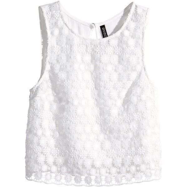 H&M Sleeveless lace top ($11) ❤ liked on Polyvore featuring tops, shirts, crop tops, tank tops, white, lace up front shirt, lace crop top, white lace tank, sleeveless shirts and lace shirt