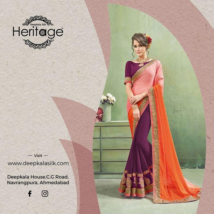 Explore rich premium wear designer ethnic sarees suitable for every event only at Deepkala Silk Heritage  https://www.deepkalasilk.com/light-pink-and-purple-georgette-saree.html #Cotton #Beauty #boldness #deepkala #silk #heritage #deepkalasilkheritage #TraditionalWear #BeSpoke #SalwarSuits #Lehenga #Saree