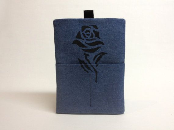 Bleached Denim iPad case Padded slipcover Black Rose by QuiltyCo, $30.00