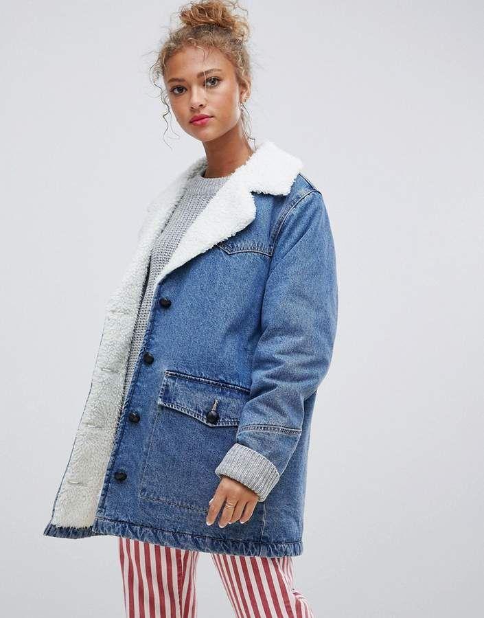 Pull Bear Denim Coat With Fleece Collar In Blue Denim Jacket Women Denim Jacket With Fur Denim Coat