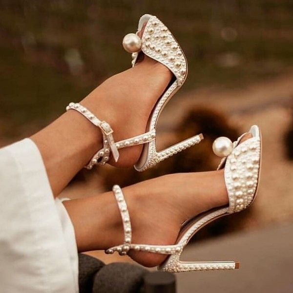69fb34b7578 White Pearls Ankle Strap Stiletto Heel Bridal Sandals in 2019 ...
