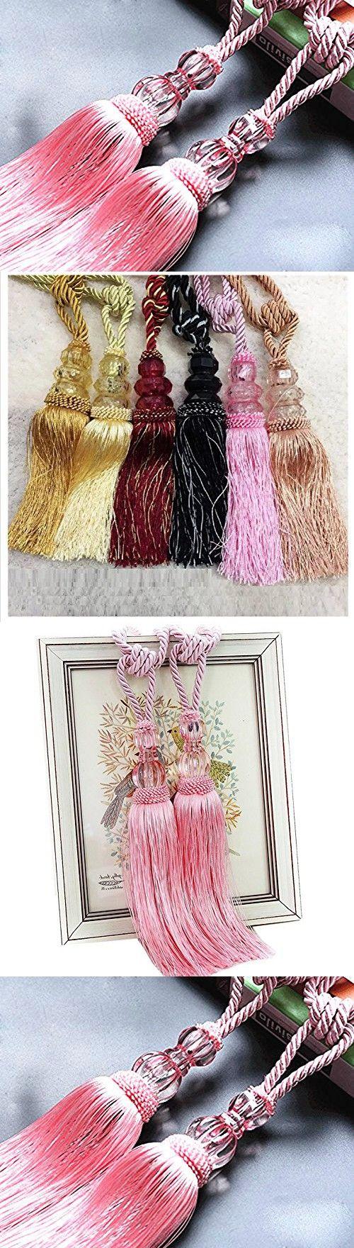 HG-X @ 1 Pair Crystal Beads Drapery Curtain Holdbacks Tassel Curtain Rope Tie Band Home Decor (Pink)