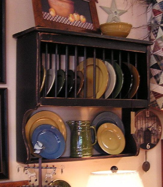 "Primitive Plate Rack with Dowels - 32"" Wide - Color Choice - FREE SHIPPING"