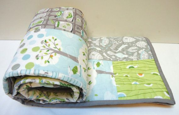 Modern Baby QuiltBaby Boy Quilt Backyard Baby by NowandThenQuilts, $159.00