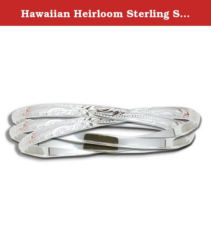 Hawaiian Heirloom Sterling Silver Eternity Bracelet - 8. Sterling Silver Hawaiian Eternity Bangle Bracelets Each bangle bracelet width is 4mm. Hand-carved bangles connected together.