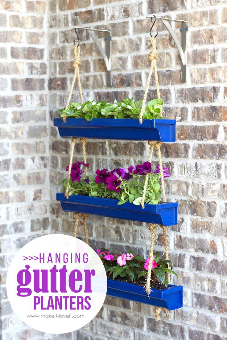 diy hanging rain gutter planters via make it and love it - Patio Flower Boxes Ideas