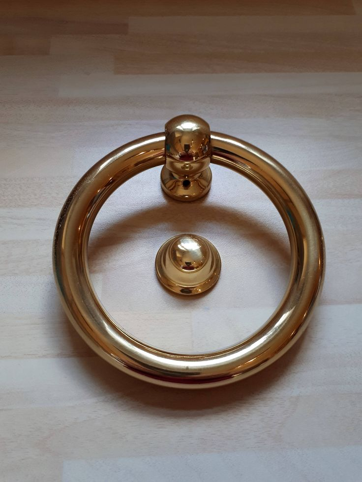 Large Ring Polished Brass Door Knocker and Fixings 130 mm by semelesparlour on Etsy