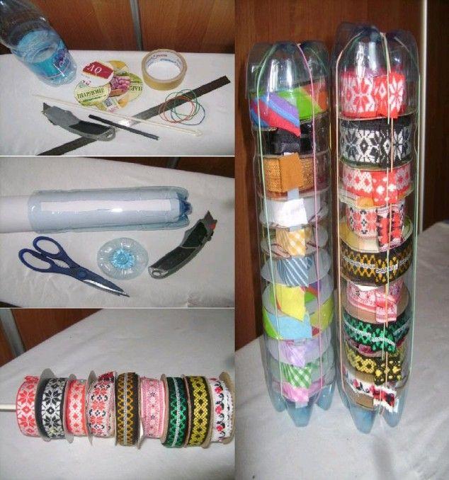 DIY Plastic Bottle Ribbon Dispenser 634x678 15 Creative Recycling DIY Plastic Projects