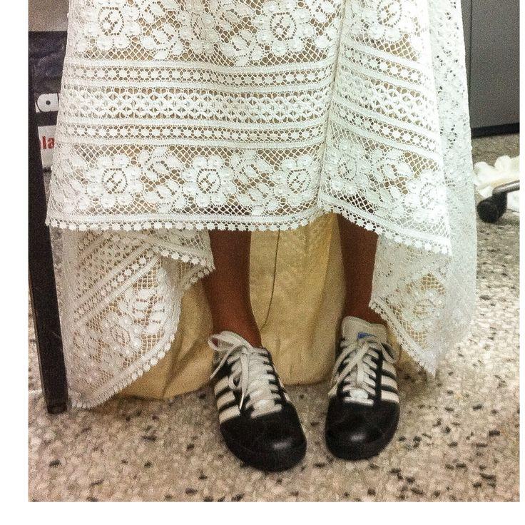 Bohemian wedding in sneakers..