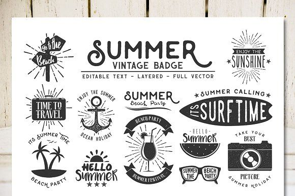 Summer Vintage Badge by DikasStudio on @creativemarket