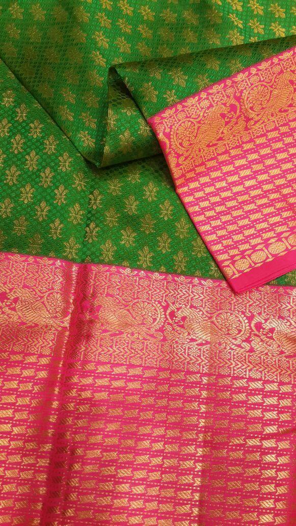 Green bridal Kanjivaram in Korvai weaving