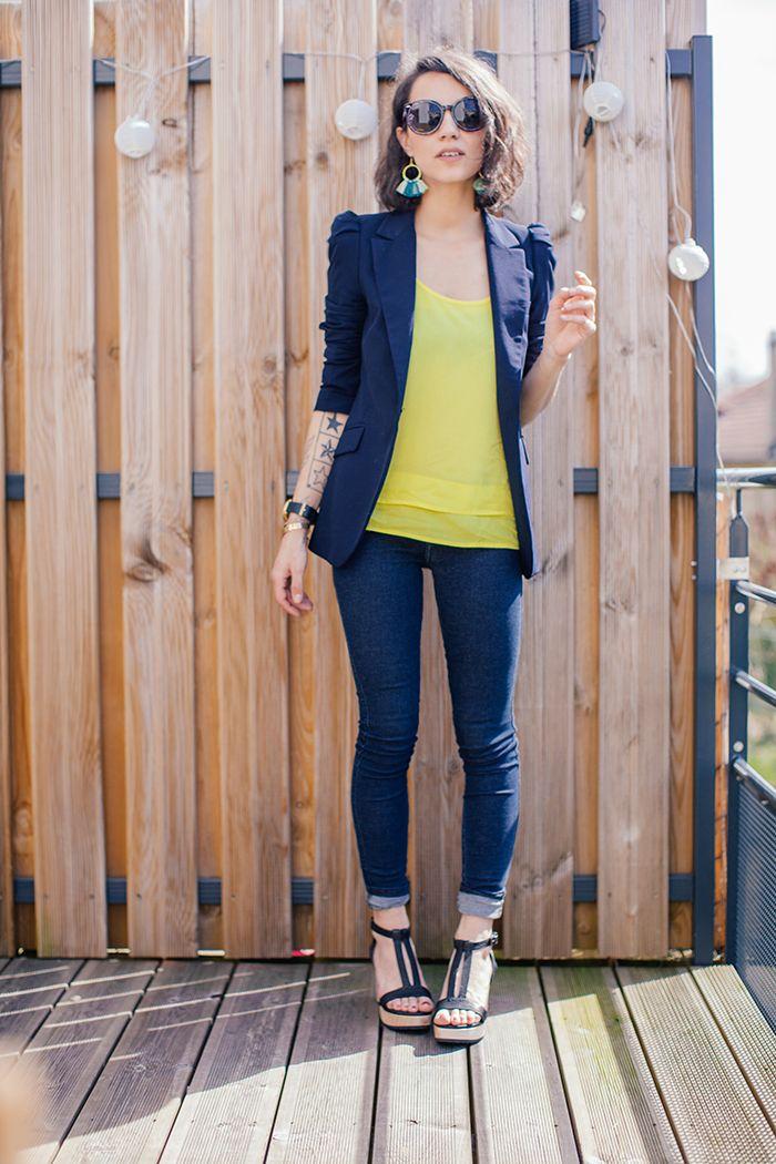 Yellow + navy blue