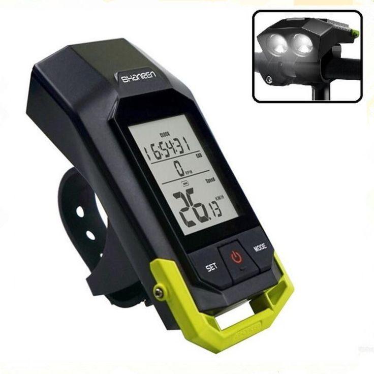 Waterproof Wireless Stopwatch + 300LM Light Multifunctional Cycling Speedometer #Shanren
