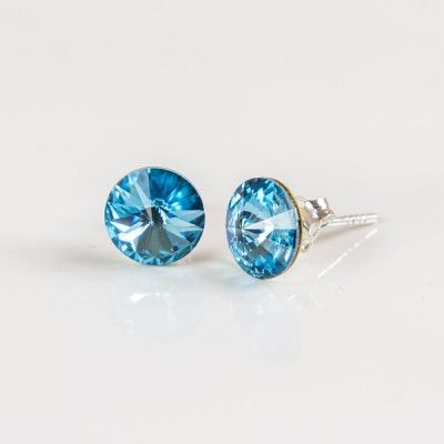 Swarovski Rivoli Earrings 6mm Aquamarine  Dimensions: length:1,4cm stone size: 6mm Weight ~ 0,70g ( 1 pair ) Metal : sterling silver ( AG-925) Stones: Swarovski Elements 1122 SS39 ( 1122 6mm ) Colour: Aquamarine 1 package = 1 pair Price 7.49 PLN( about`2 EUR)