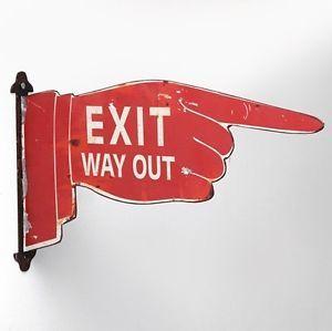 Wanddeko-Schild-Exit-Way-Out-Amerika-Ausgang-urban-USA-New-York-Vintage-shabby