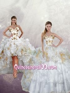 2015 Popular Sequins and Pick-ups Quinceanera Dress in White