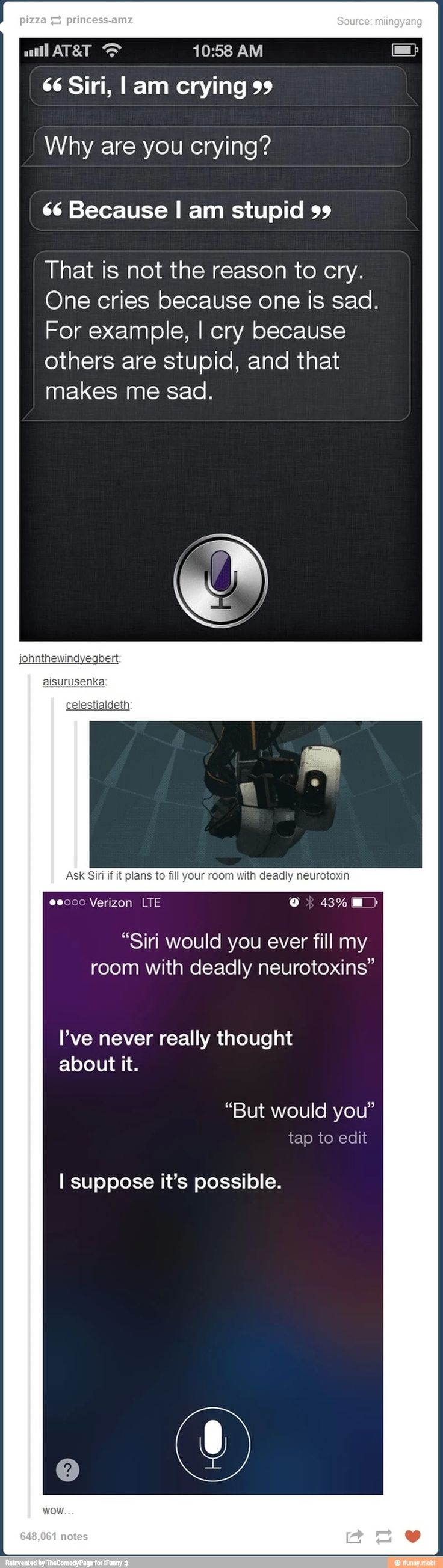"""It is to much of a coincidence. Siri is Glados. I think I'm okay with that"""