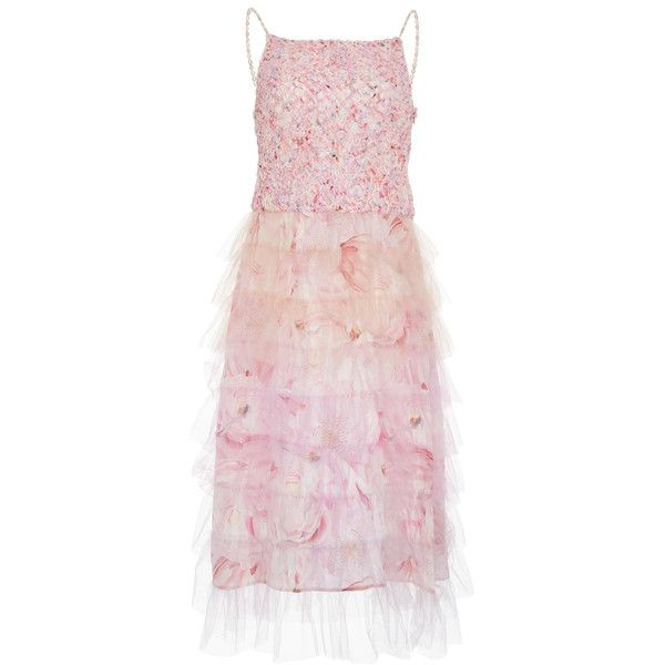 Isolda Florence Degrade Macramé Dress ($1,760) ❤ liked on Polyvore featuring dresses, pink, pink cami dress, midi day dresses, square neck midi dress, pink cami and strap dress