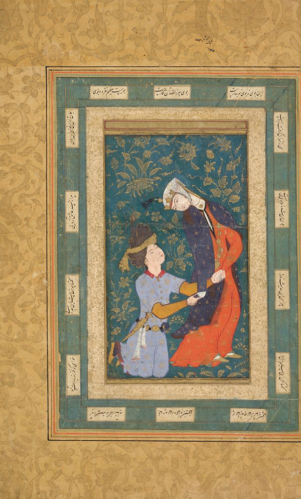 A woman detained by a kneeling youth | ca. 1590s | Ink, opaque watercolor and gold on paper; H: 40.6 W: 26.0 cm; Bukhara, Uzbekistan