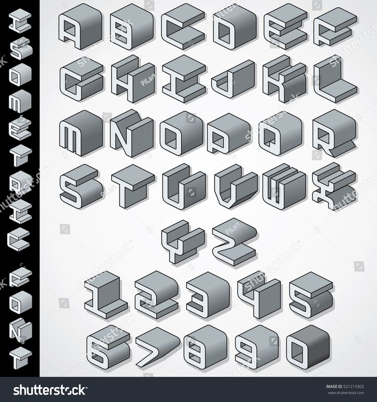 3D Isometric Font. Letters and Numbers. Vector Set Ready ...