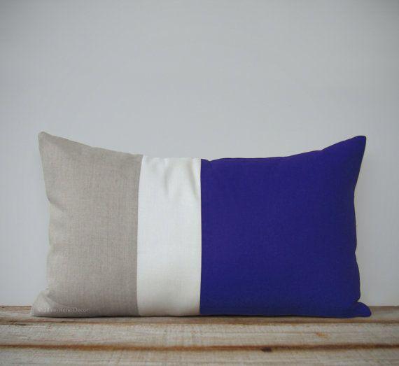 12 x 20 Colorblock lombare cuscino in cobalto, lino crema e naturale di JillianReneDecor - Oggettistica per la casa nautica - Striped Trio - Beach House