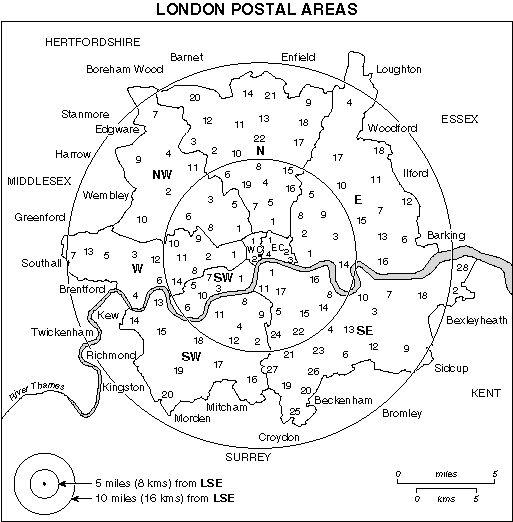 Current postal district map