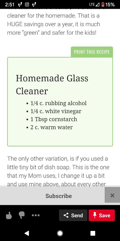 Homemade windex homemade glass cleaner food print