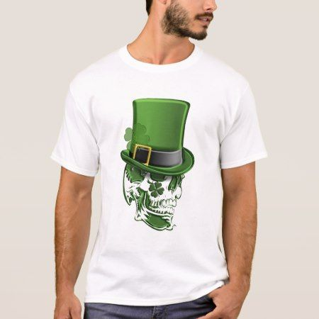 Saint Patricks Day Leprechaun Hat and Skull T-Shir T-Shirt - tap, personalize, buy right now!