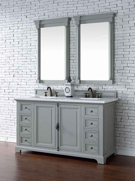 James Martin Providence (double) 60-Inch Urban Gray Transitional Bathroom Vanity With Top Options