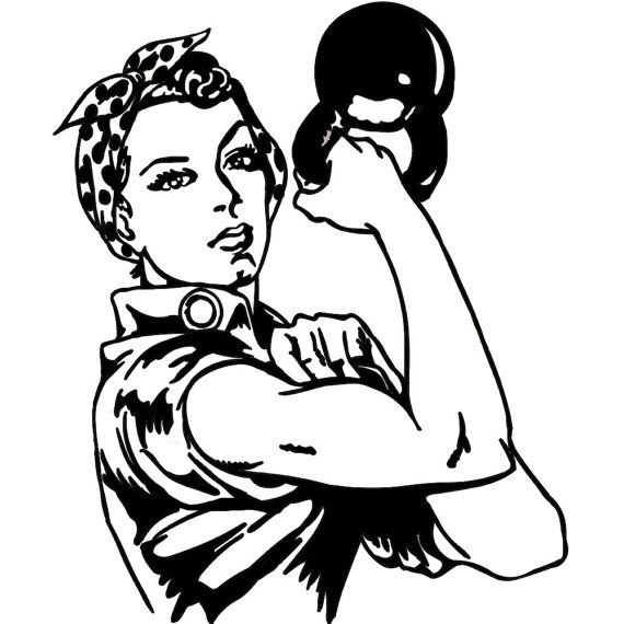 FREE SHIPPING KEttlebell Crossfit Woman Strong Buff Fit Decal Sticker