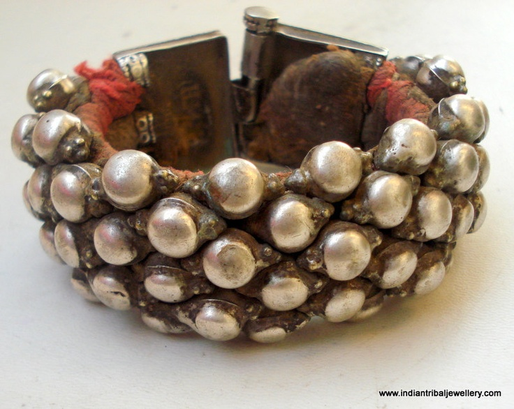 vintage antique ethnic tribal old silver beads cuff bracelet bangle india.