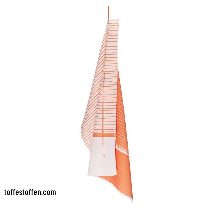 Elegant - orange. Tea towel 100% bio cotton. Woven in Dutch TextileMuseum Tilburg. Loop is extension of the print. www.toffestoffen.com