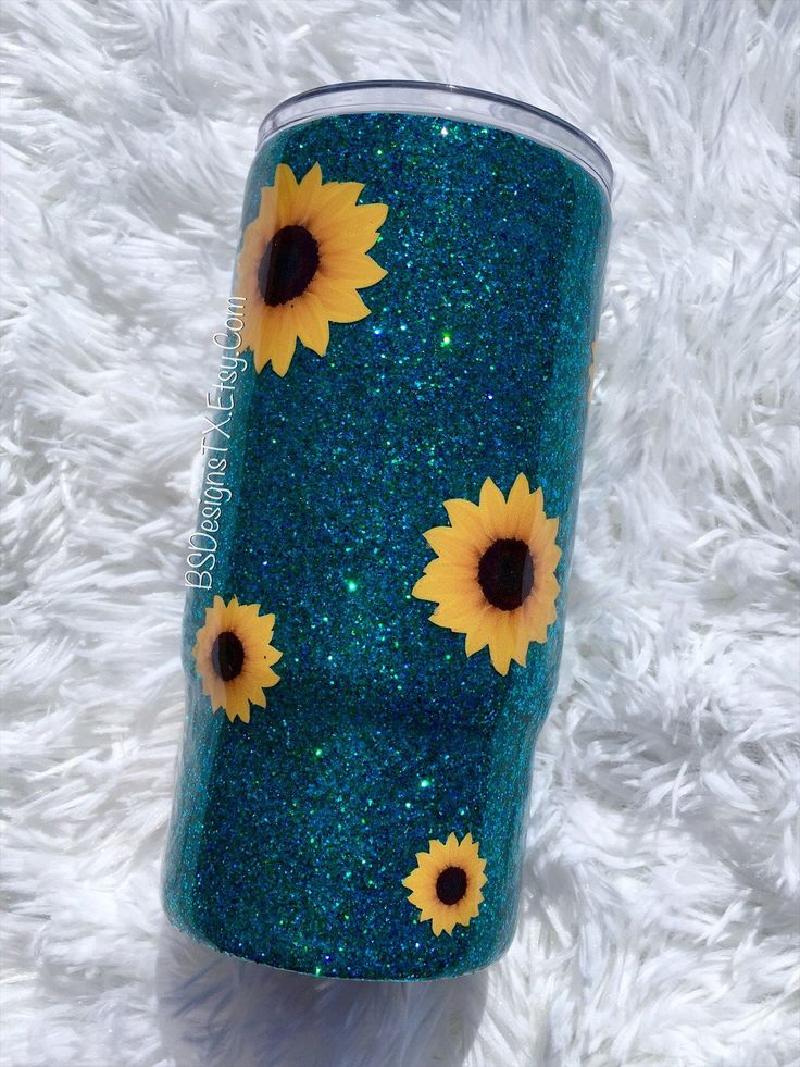 Sunflower Green/Teal Glitter Stainless Steel Tumbler