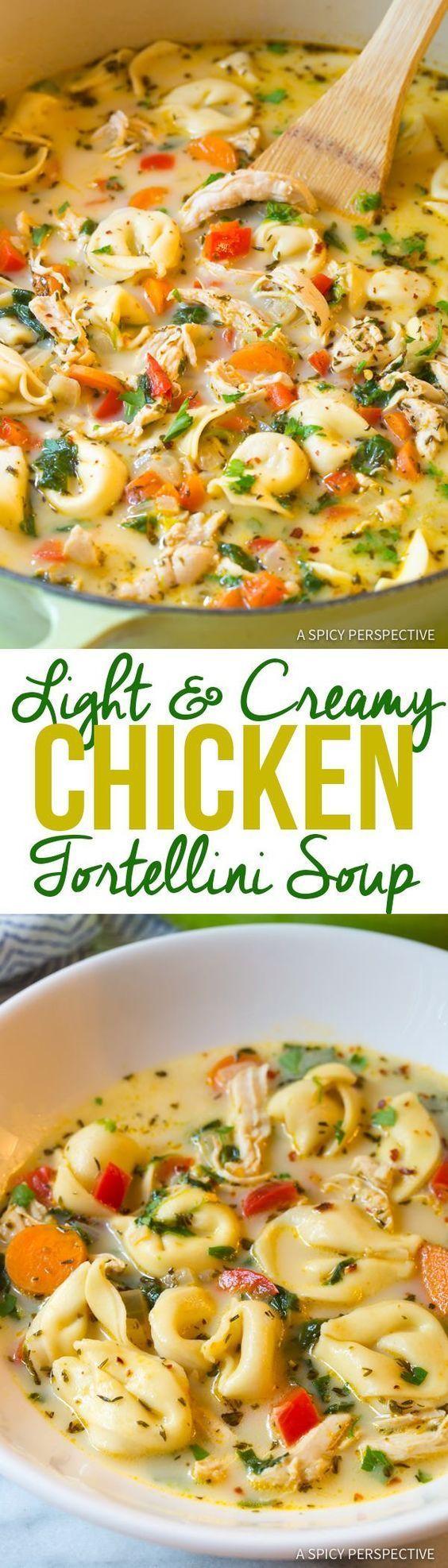 """Lightened-Up"" Creamy Chicken Tortellini Soup   http://ASpicyPerspective.com"