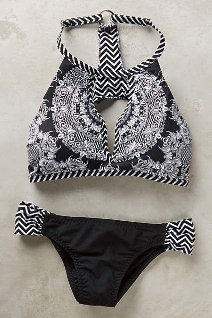 fun chevron print black and white bikini