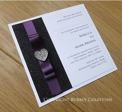 Luxury Wedding Invitation Flat Postcard Invite With Black Sparkly Glitter And Aubergine Dark Purple Ribbon Handmade Stationery By Bubbly Creations