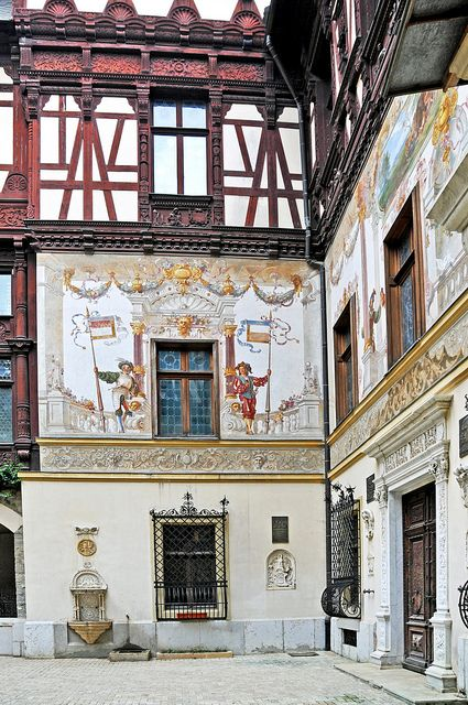 One of the many buildings throughout Romania with beautiful frescos.