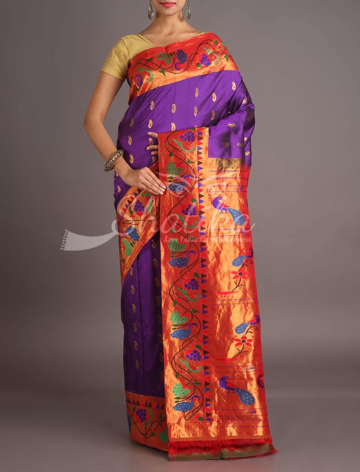 Aayushi Violet Hues Designer Border Pallu Real Zari Paithani Silk Saree