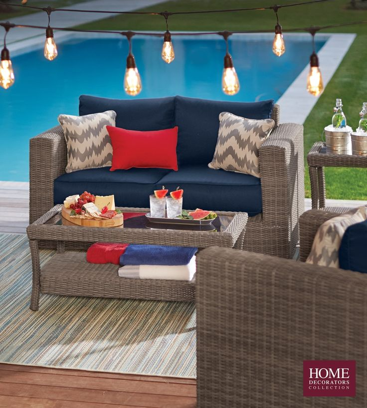 Home Decorators Collection Naples Grey 4 Piece All Weather Wicker Patio  Deep Seating Set With Navy Cushions