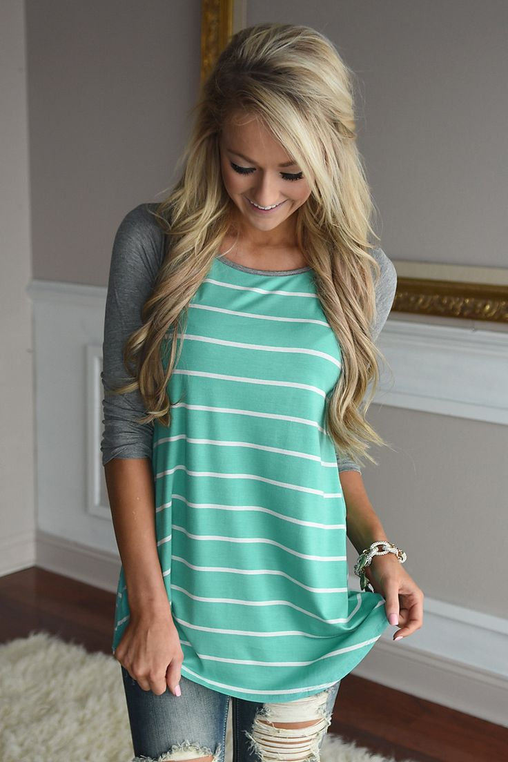 Pretty in Mint Striped Top – The Pulse Boutique