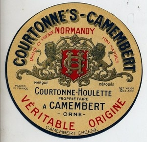 ORIGINAL FRENCH CHEESE LABEL - COURTONNES-CAMEMBERT NORMANDY